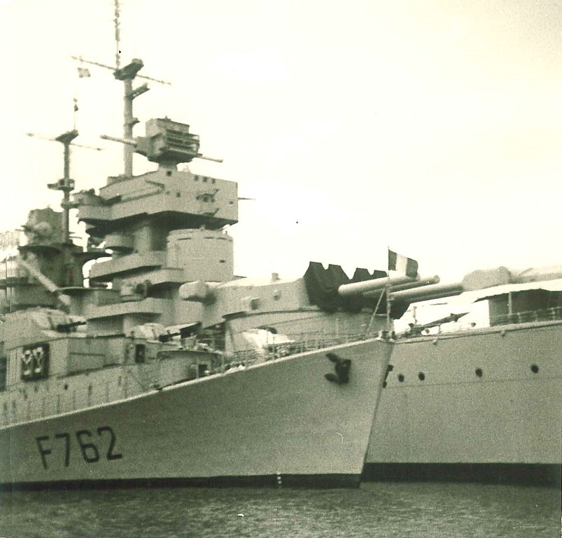 Battleship Jean Bart at Toulon, 1968, deactivated but showing her impressive 1950s refit