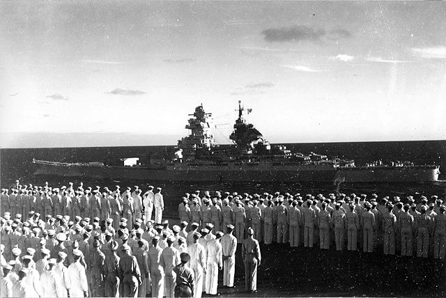 Richelieu as seen from USS Saratoga in May 1944
