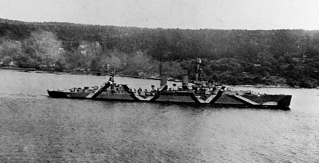 KMS Emden on her way to Oslofjord in March 1940 - notice the camouflage