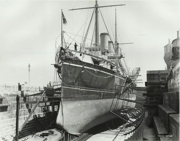 HMS_Royal_Arthur_in_drydock_Sydney