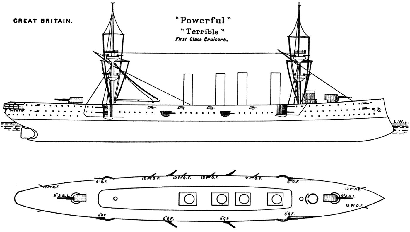 Powerful_class_cruiser_diagram_Brasseys_1897