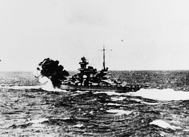 Scharnhorst firing against HMS Glorious