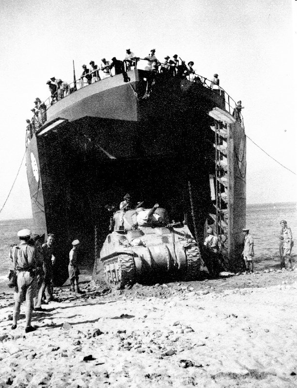 A Canadian Sherman lands from an LST in Sicily