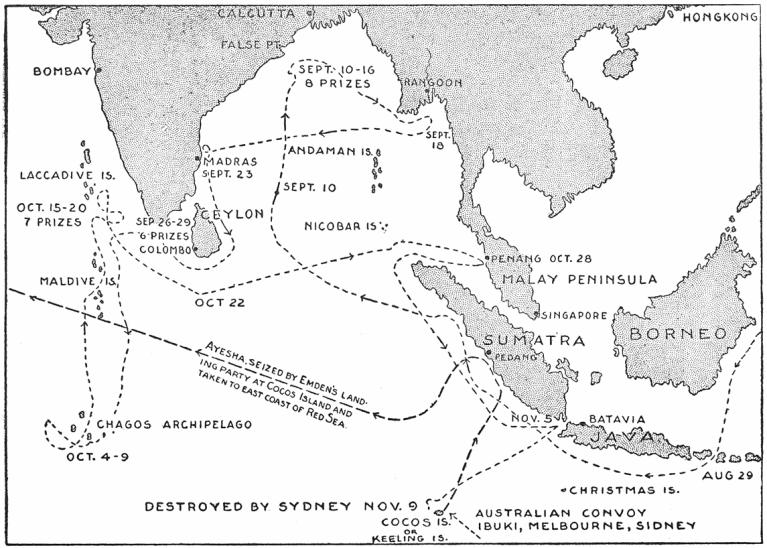Emden's 1914 cruise map