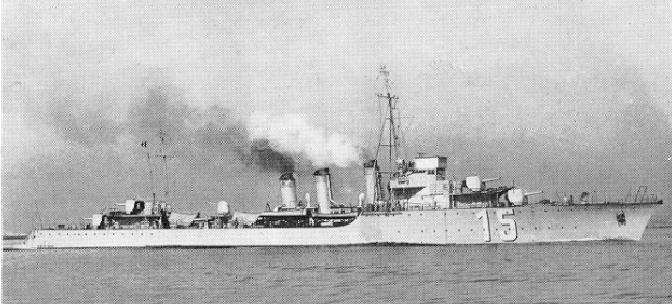 Destroyer Ouragan in 1939