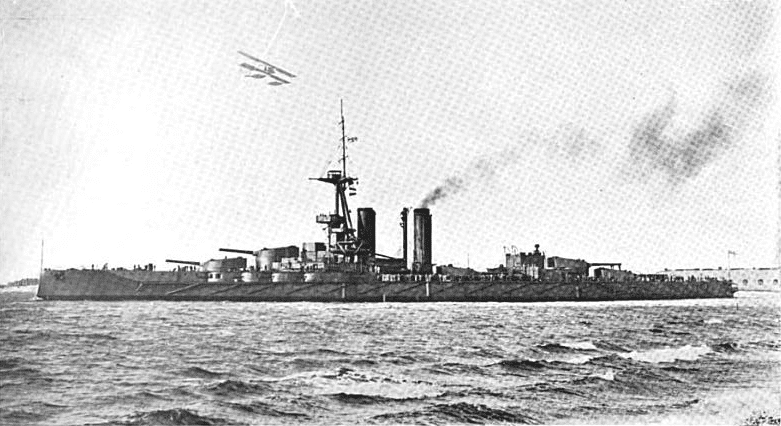 HMS Iron Duke and floatplane