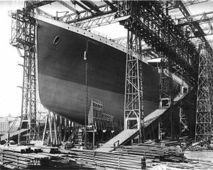 Construction: Titanic in her gantry, prior to launch at H&W shipyard, Belfast, 1911