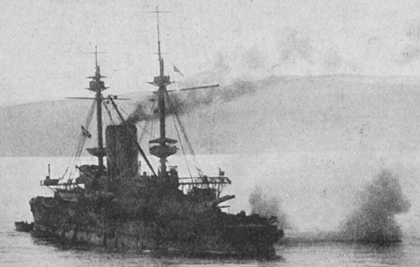 HMS Albion shelling Turkish forts of the Dardanelles