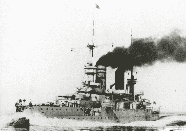 SMS Kaiser Barbarossa, full speed.