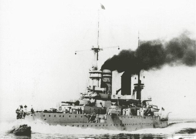 SMS Kaiser Barbarossa, full speed.