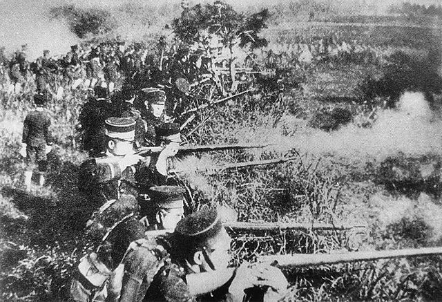 Japanese troops besieging Weihaiwei
