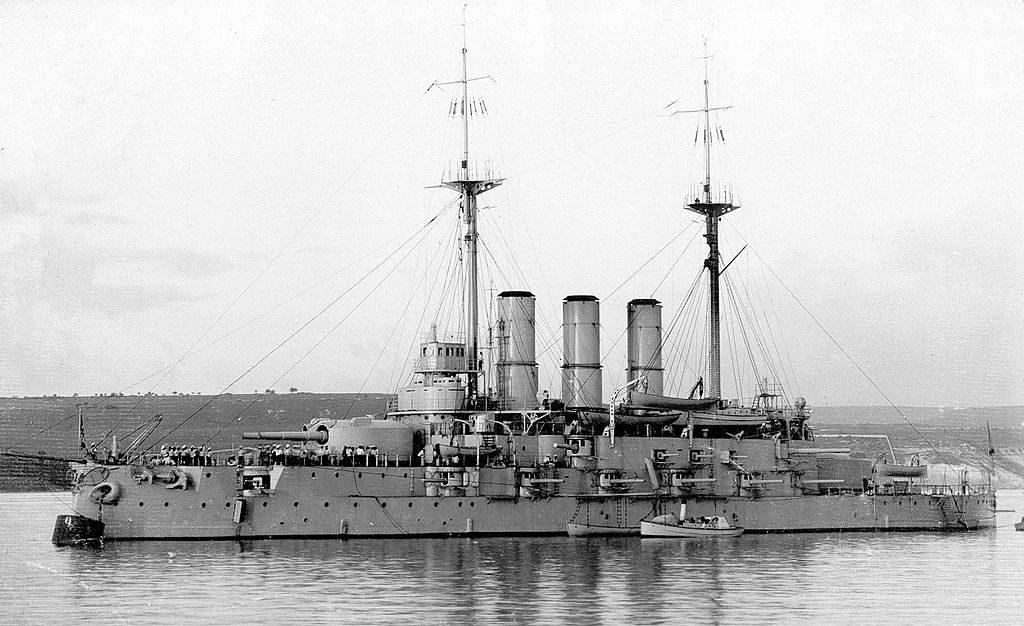 Evstafi at anchor, black sea fleet, prewar.