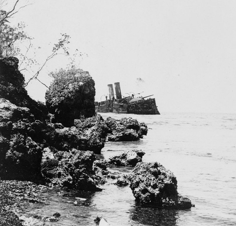 Wreck of the Almirante Ocquendo in 1899.