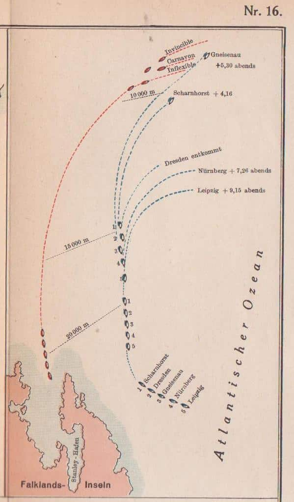 Map of the battle of the Falklands, 1914
