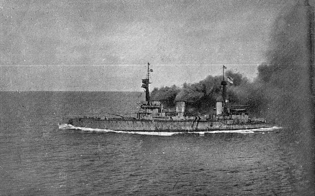 HMS Invincible racing towards the Falklands