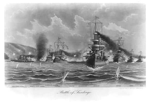 Engraving of the Battle of Santiago