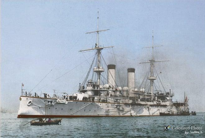 Battleship Tokiwa, colorized
