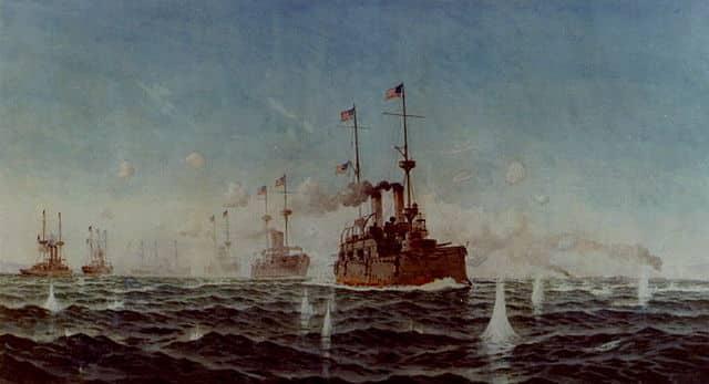 USS Olympia leading the battle line in Manila Bay
