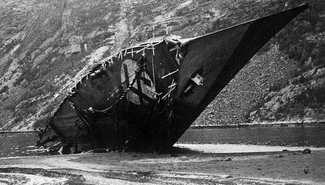 The beached, destroyed German destroyer Bernd Von Arnim