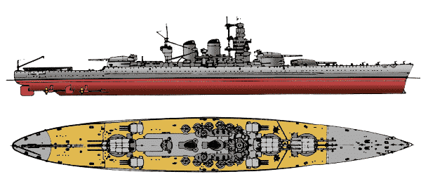 2-view drawing of the Littorio