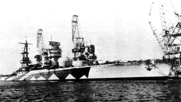 Camouflaged Cavour in Trieste, 1942