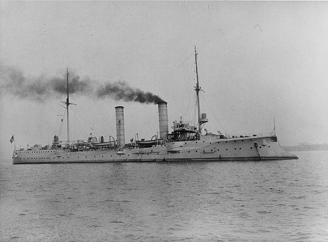 SMS Amazone at anchor
