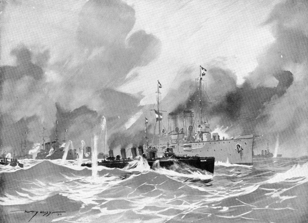 Depiction of the battle of Antivari by Harry Heusser in 1914
