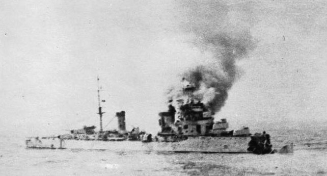 Colleoni in action with HMAS Sydney July 1940