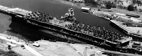 USS Ranger CV-4 in Panama Canal, 1945