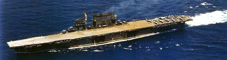 USS Saratoga underway circa in 1942