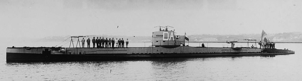 French Submarine Daphne at anchor in the 1920s