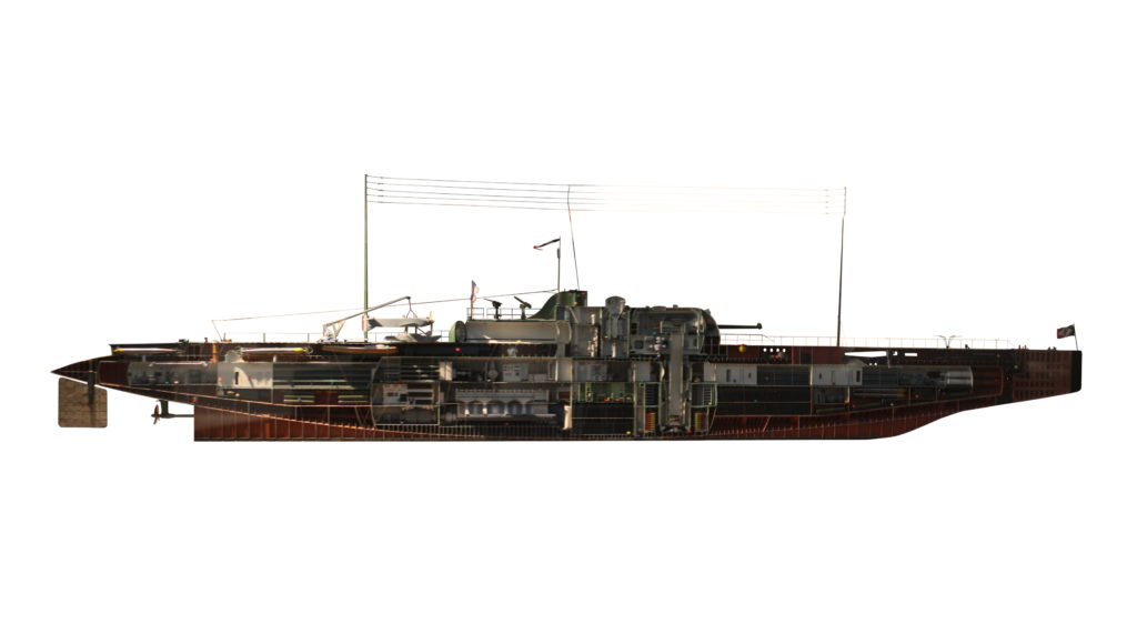 Very large cutout model of the Surcouf