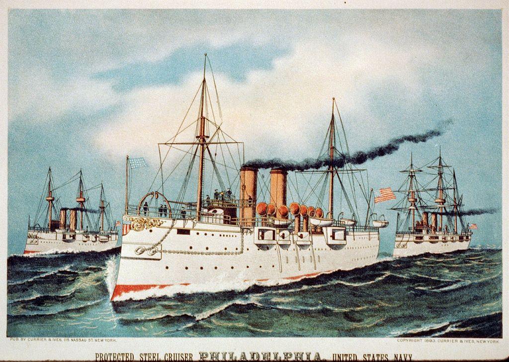 USS Philadelphia commemorative stamp naval review 1893