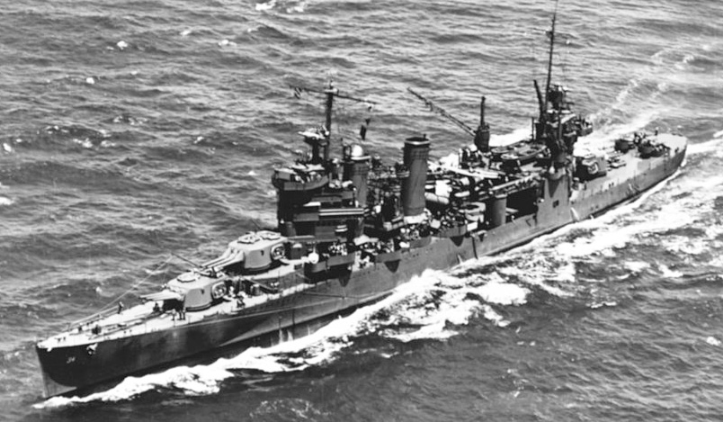 USS Astoria operating in Hawaiian waters on 8 July 1942