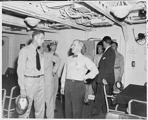 President Truman onboard USS Augusta attending Portdam conference 1945