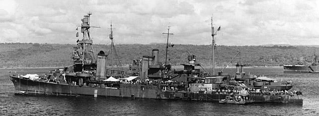USS Pensacola alongside USS Vestal after the battle of Tassafaronga, 17 December 1942