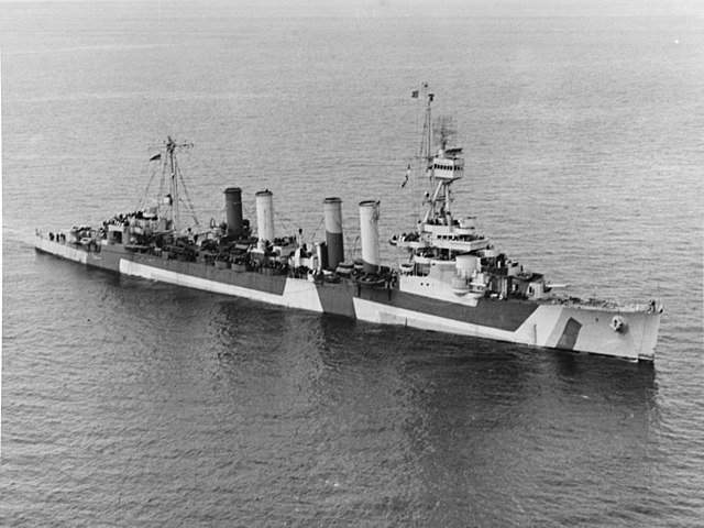 USS Detroit off port Angeles, Washigton state, April, 14, 1944.