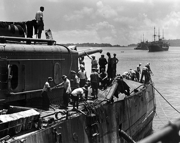 Bomb damage on the USS Marblehead following the Battleo of Makassar strait in February 1942