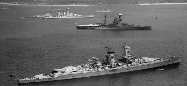 King Georges V celebrations Spithead - Hood, Resolution and Graf Spee