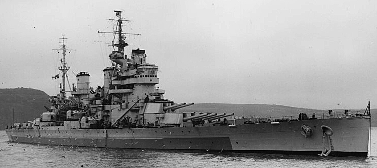 hms Anson at Devonport 1945