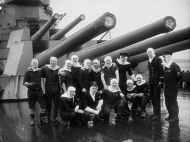 Gunners of Duke of York posing proudly after their duel with the Scharnhorst