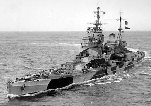 HMS Howe underway at sea, circa 1943