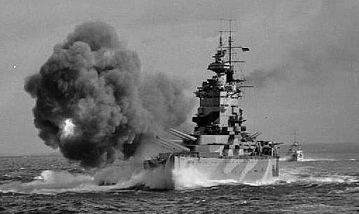 HMS Rodney doing gunnery trials, 1942