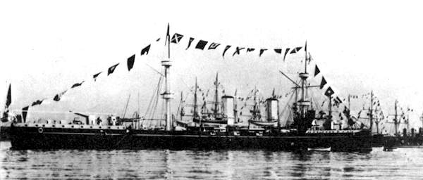 Regia Marina's Piemonte during a naval review