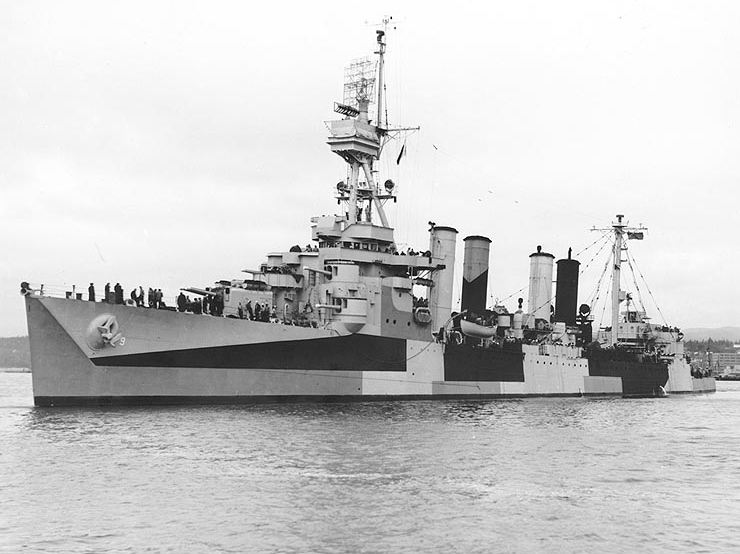 USS Richmond off Puget Sound NYd, Bremerton, Washington, 24 June 1944 showing her Measure 32, Design 3d camouflage.