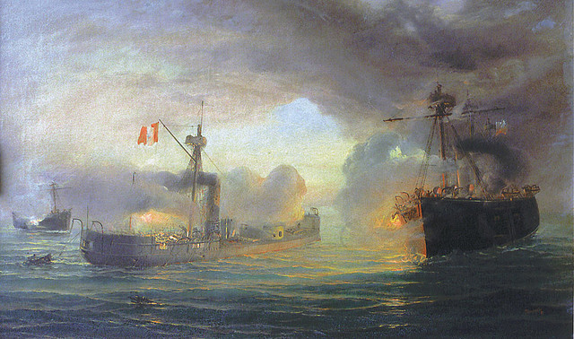 The Battle of Angamos, 1879, between the Peruvian Huascar and the Chilean Navy