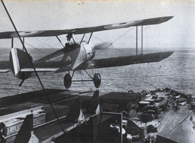 Flight Commander Rutland's Sopwith Pup taking off from HMS Yarmouth's platform, June 1917.