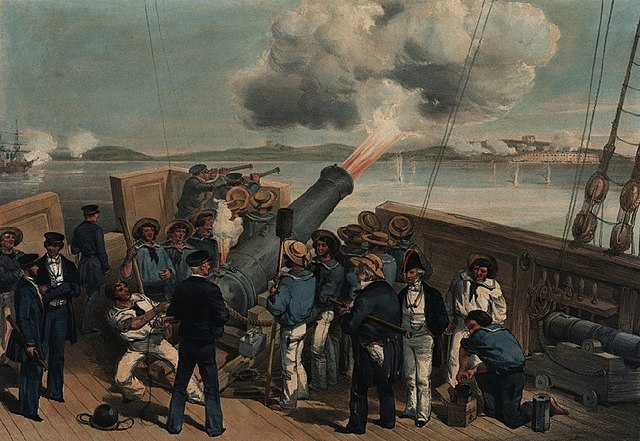 The bombardment of Bomarsund in the Baltic