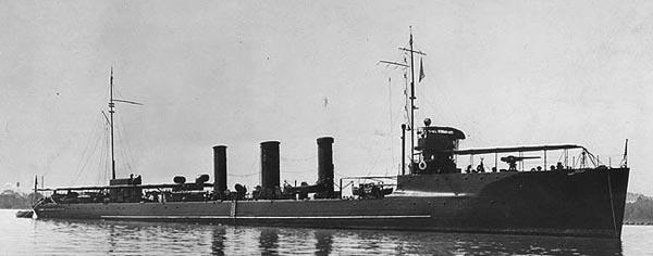 USS Monaghan DD-32 on trials