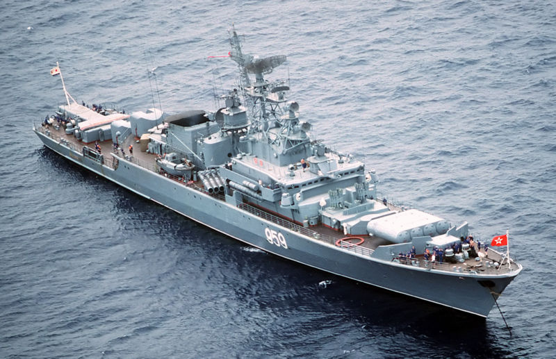 An aerial starboard bow view of the Soviet Krivak I Class guided missile frigate 959 at anchor